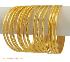 22k Plain Gold Bangles Set(14 Pcs)