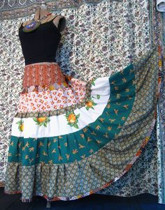 Upcycled cottons tiered skirt