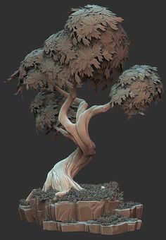 Stylized Tree by Ben Lewis on ArtStation. Low Poly, Environment Concept Art, Environment Design, Zbrush Environment, Game Environment, 3d Tree, Br Games, Modelos 3d, 3d Fantasy