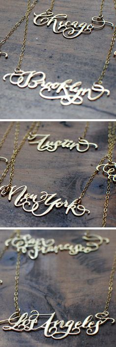Rep Your City Necklaces <3  At first I didn't like this, but then I thought about it on a soft sweater written Minneapolis, pretty cool actually. :)
