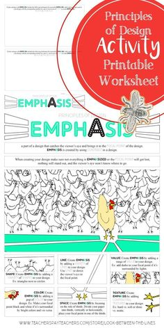 Principles of Design, Emphasis, Worksheet: Middle and High School Art Activity I use my principles of design worksheets every year in my Introduction to Art class. This printable worksheet covers the principle of design, emphasis. Principles Of Design Harmony, Elements And Principles, Art Elements, High School Activities, Art Activities, Art Education Projects, Art Projects, Art Worksheets, Printable Worksheets