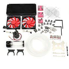 PC Liquid Cooling 240 Radiator Kit Pump Reservoir CPU GPU Block Pump Reservoir…