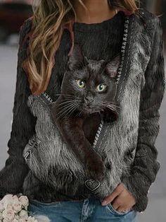 Blouse Sexy, Sweat Shirt, Cool Cats, Long Sleeve Shirts, Sleeves, Animals, Women's Fashion, Fashion Blouses, Fashion Online