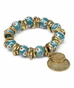 Take a look at this Gold & Blue Lucky Eye Coin Stretch Bracelet on zulily today!