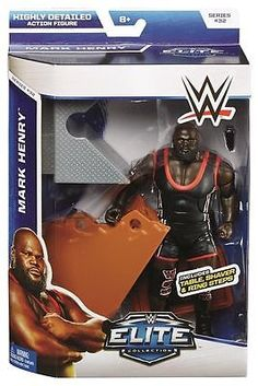WWE Action Figure Series 32 Mark Henry Elite Includes Table, Shaver & Ring Steps