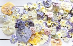 white, yellow, pink and purple crystallised flowers