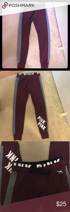 Victoria Secret Pink Maroon Gym Pant Maroon gym pant with elastic waistband. Size XS. Very comfy. PINK Victoria's Secret Pants Track Pants & Joggers