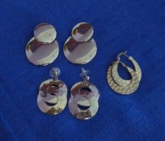 Lot of Three Silver Tone EarringLarge Stud by TraderTrudys on Etsy