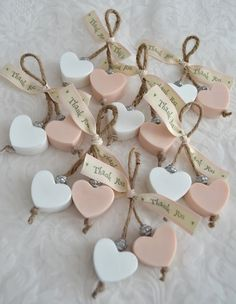 Heart-shaped soaps as wedding favors! Rustic wedding favors, pink and white wedd… Heart-shaped soaps as wedding favors! Rustic wedding favors, pink and white wedding favors, diy wedding favor ideas, soap wedding favor ideas. Wedding Favors And Gifts, Rustic Wedding Favors, Wedding Tokens, Craft Wedding, Wedding Bands, Pink And White Weddings, Wedding White, Trendy Wedding, Soap On A Rope