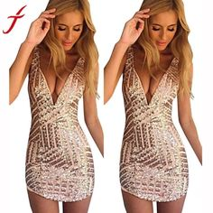 Sexysuites ~ Products ~ Fashion Women Dress 2017 New Spring Sexy Deep V  Neck Sequin Bodycon Bandage Party Club Mini Dress Rose Gold vestidos mujer  ~ Shopify 8aae01b958d8