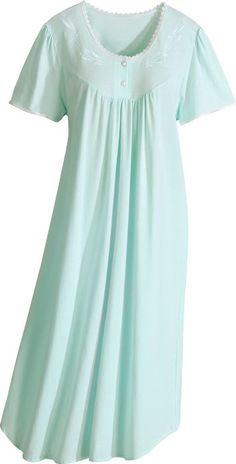 Combed cotton knit nightgown is a sumptuously soft knit. Incredibly comfortable cotton nightgown is trimmed with lace and satin. Womens Nighties, Cotton Nighties, Cotton Sleepwear, Nightgowns For Women, Sleepwear Women, Night Gown Dress, Nightgown Pattern, Night Dress For Women, African Traditional Dresses