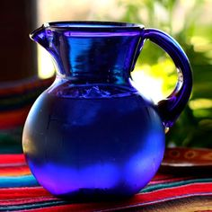 Novica Cobalt Light Unique Blue Everyday or Special Occasion Tableware Perfect Hostess Gift Handblown Round Glass Pitcher (Mexico) Im Blue, Love Blue, Blue And White, Color Blue, Aqua Blue, Blue Orange, Purple, Cobalt Glass, Glass Pitchers