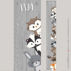 Create a treasured keepsake for your child with a customized canvas Woodland Creatures Growth Chart