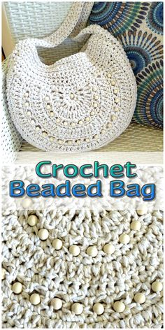 Crochet two tone beaded hobo boho bag handmade to order. Talk to me about other yarn and bead colour options.