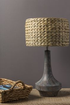 Antiqued Gray Base + Textural Seagrass Shade U003d Carson Table Lamp By Surya  (CALP