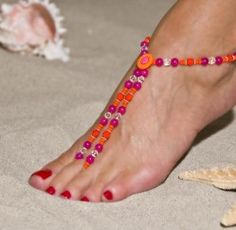 Hot pink and orange beach sandals