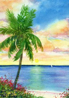 Beach watercolor · teri jones - sunset palm ~ caribbean art apartment wall art, all poster, poster Beach Watercolor, Watercolor Images, Watercolor Landscape, Seascape Paintings, Watercolor Paintings, Watercolors, Tree Paintings, Watercolor Trees, Caribbean Art