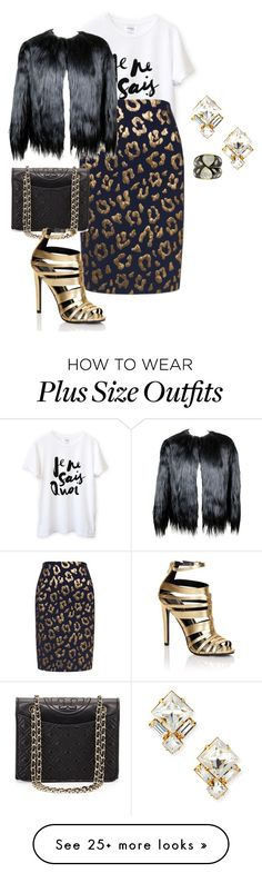 """""""plus size holiday golden glam"""" by kristie-payne on Polyvore featuring Essentiel, 32 Paradis Sprung Frères, Auden, Tory Burch and Lipsy"""