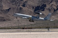 E-3 of 552nd Air Control Wing takes off from Nellis Air Force Base during Red Flag 16-2 exercise in March 2016. U.S. Air Force photo