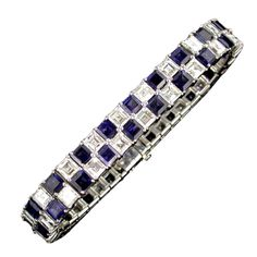Exquisite handmade platinum double row checkerboard bracelet with alternating square cut blue sapphires and Asscher-cut diamonds. This piece contains 40 richly colored sapphires weighing approx and 40 E color, VS clarity, Asscher-cut diamonds weighing Black Diamond Bracelet, Diamond Tennis Necklace, Diamond Bracelets, Diamond Jewelry, Bangle Bracelets, Bangles, Modern Jewelry, Fine Jewelry, Jewelry Box