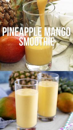 Our Pineapple Mango Smoothie is made with coconut milk pineapple and mango for an easy smoothie recipe. Our Pineapple Mango Smoothie is made with coconut milk pineapple and mango for an easy smoothie recipe. Mango Pineapple Smoothie, Mango Smoothie Recipes, Detox Juice Recipes, Easy Smoothies, Smoothie Drinks, Fruit Recipes, Healthy Recipes, Juice Cleanse, Fruit Snacks