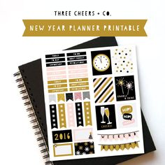 New Year Planner Stickers - Free Printable - Great for Erin Condren Life Planner - Three Cheers + Co.
