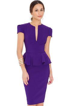 Purple deep V-neck peplum dress Sale - Goddiva Sale Purple Outfits, Secret Sale, Dresses For Sale, Dress Sale, Purple Fashion, Sister Wedding, Fashion Dresses, Peplum Dresses, Festivals