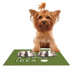 "Busy Bree ""Good Idea"" Green Tyopgraphy Dog Place Mat"