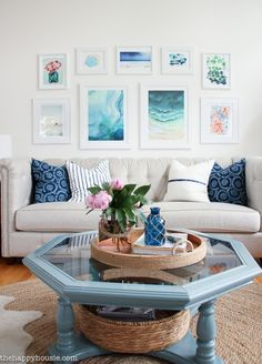 Come tour this beautiful lake house living room and kitchen summer home tour with Country Living at the happy housie-17