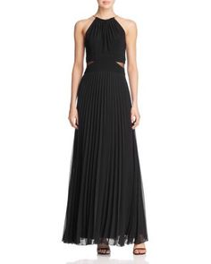 AQUA Illusion Cutout Waist Pleated Gown | Bloomingdale's