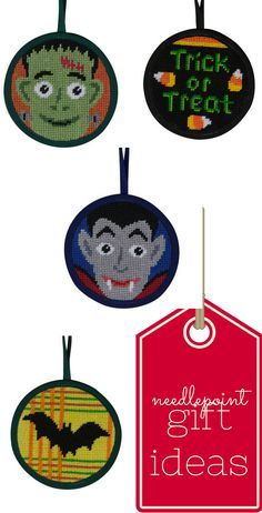 These quick and easy DIY Halloween needlepoint ornaments are self-finishing, affordable and fun to stitch and gift.