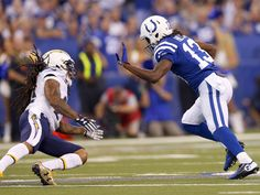 Indianapolis Colts wide receiver T.Y. Hilton (13) works to make a move toward first-down yardage during the first half of an NFL football game Sunday, Sept. 25, 2016, at Lucas Oil Stadium.  Mykal_McEldowney/Indy_Star