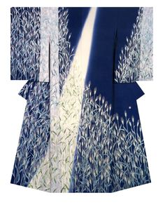 "Japanese kimono ""Mugi-en"" Kimono created and named by Love Sayo . Winner of NHK Kyotohosokyoku length Prize at the Annual Meeting of the Japanese textile artist Exhibition award. Japanese Textiles, Japanese Patterns, Japanese Fabric, Japanese Prints, Japanese Design, Furisode Kimono, Kimono Fabric, Yukata, Geisha"