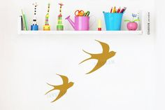 Flying birds wall art stickers for kids room. Swallows home decor. Bird Wall Art, Flying Birds, Swallows, Awesome Bedrooms, Happy Kids, Art Market, Vinyl Wall Decals, Nursery Wall Art, Decor Styles