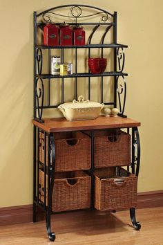 Bakers Rack with Rattan Drawers