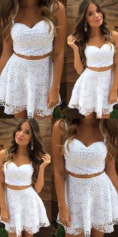 Two Piece Dresses,White Lace Dresses,Homecoming Dresses 2017,Cocktail Dresses 2017