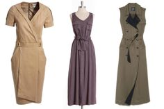 Silverlake Cargo Maxi Dress, $44.99, available at Ruche; Gryphon Trench Dress, $575, available at Shop Nouvelles.