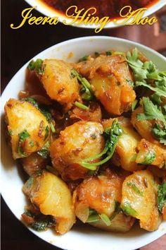 Potatoes with Cumin Seeds & Asafoetida Jeera Hing Aloo Recipe - Potatoes with Cumin Seeds & Asafoetida.Jeera Hing Aloo Recipe - Potatoes with Cumin Seeds & Asafoetida. Aloo Recipes, Garlic Recipes, Fodmap Recipes, Potato Recipes, Curry Recipes, Vegan Recipes, Veg Recipes Of India, Vegetable Recipes, Indian Food Recipes