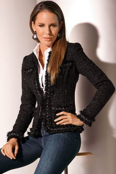 On Sale @ Boston Proper! Black Parisian Jacket with a hint of sparkle. Best-selling iconic jacket with fringed hems, chain piping and allover shimmer. Shimmer jacket also available in Navy, White and Red!