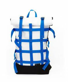 Rolltop webbing WHITE | BLUE Backpack manufactured in Prague, Czech Republic