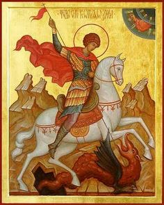 St George the Great Martyr on horseback / Sfantul Gheorghe in iconografia ortodoxa Religious Icons, Religious Art, Patron Saint Of England, Saint George And The Dragon, Master Of Fine Arts, Religious Paintings, Byzantine Icons, Traditional Paintings, Christian Art