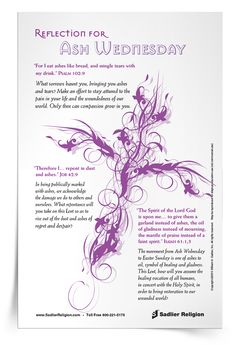 A Printable Reflection and Prayer for Ash Wednesday