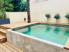36 Ideas Backyard Pool And Hot Tub Spa Design For 2019 – Creative Swiming Pool, Small Swimming Pools, Small Backyard Pools, Backyard Patio Designs, Small Pools, Swimming Pools Backyard, Outdoor Pool, Backyard Landscaping, Landscaping Ideas