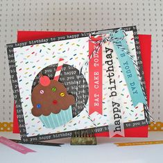 Happy Birthday - Pebbles - Scrapbook.com - Love the mini buttons as sprinkles!