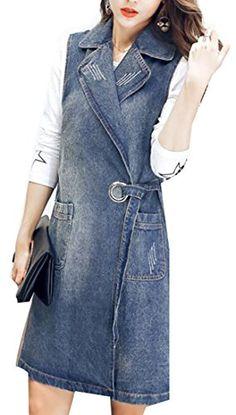 341cbbd253b199 tescous Womens Summer Sexy Denim Vest Lapel Long Blue XS Sexy Jeans