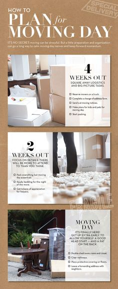 How to plan for your moving day, from Pottery Barn! 4 Weeks Out, 2 Weeks Out, + Moving Day! Moving Home, Moving Day, Moving Tips, Move On Up, Big Move, Moving Organisation, Packing To Move, Packing Tips, Organizing For A Move