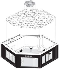 Joshua Florquin adds hexagonal-patterend ceiling to Les Dada East hair salon in Paris Shop Interior Design, Store Design, Cosmetic Shop, Architectural Section, Hexagon Pattern, Dezeen, Ceiling Design, Architecture, Salons