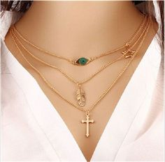 Women Gold Plated Chain Chunky Statement Bib Cross&Leaf&Eye Necklace Jewelry - https://barskydiamonds.com/necklaces/