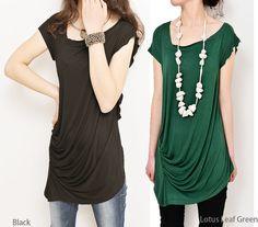 Ripple draping asymmetrical tunic Tshirt modal por idea2lifestyle
