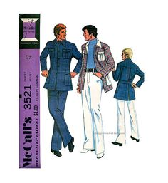 1970s MEN'S SPORTS JACKET & Pants Pattern Leisure Suit Hipster Sports Bionic Man Suit Chest 42 Vintage McCalls 3521 at DesignRewindFashions Vintage & Modern Sewing Patterns